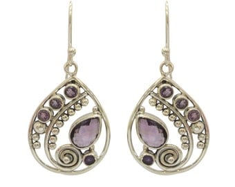Amethyst Gemstone With 925 Sterling Silver Earring handmade Jewelry