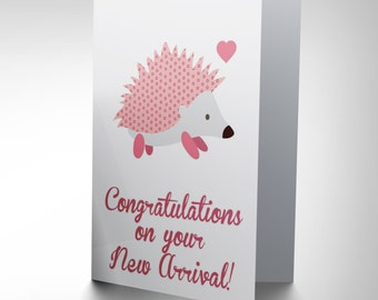 New New Baby Arrival Congratulations Hedgehog Art Greetings Greeting Card CP1647