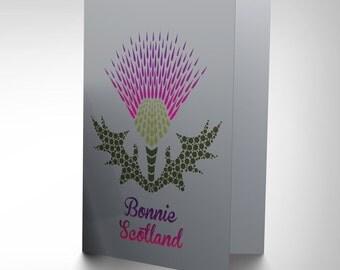 Bonnie Scotland Card - Thistle Purple Scotland Art Blank Greetings Card CP1656