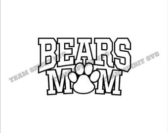 Bears Mom with Paw Download Files - SVG, DXF, EPS, Silhouette Studio, Vinyl Cut Files, Digital Cut Files -Use with Cricut and Silhouette
