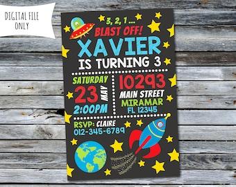 Space Invitation / Space Birthday Invitation / Rocket Invitation (Personalized) Digital Printable File