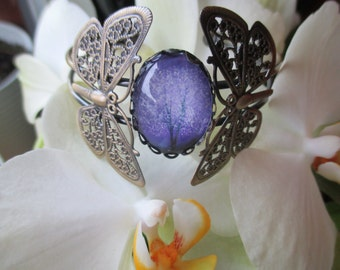 Tree of life purple cabochon bracelet