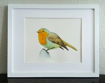 ORIGINAL Watercolor bird -  Robin