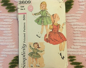 Simplicity 3609 Vintage Child Sewing Pattern 50s 60s Girls' Dress and Jumper with Original Dog and Cat Transfer