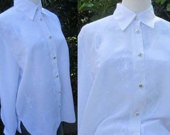 Vintage 80s embroidered blouse lace Blouse s/meter