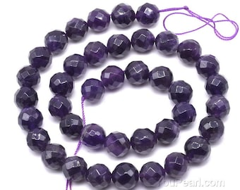 Amethyst beads, 10mm round faceted, purple quartz beads, gemstone beads, natural gem bead, semi precious stone beads supply, AMT1060