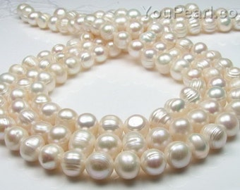 Potato pearl, 9-10mm baroque ringed, genuine natural freshwater pearl, cultured pearls, large hole 2.5mm available, FQ750-WS