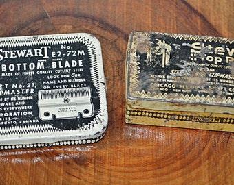 2 Vintage Tins With Original Contents, Advertising Tins, Stewart Blades, Vintage Sunbeam Blades