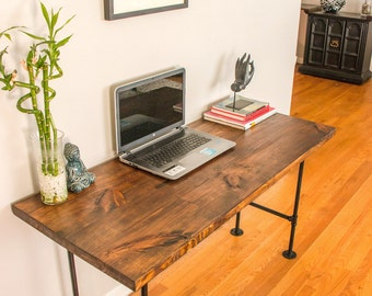 Reclaimed desk with pipe legs, industrial desk, wood desk, reclaimed table, wood table, reclaimed wood desk, desk, table