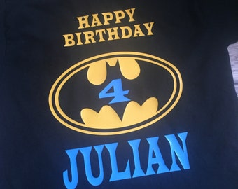 Batman Birthday Shirt/blue name or any other custom color