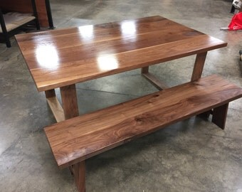 Walnut dining table and bench