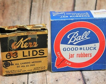 Vintage Kerr Jar lids and Ball Jar Rubbers-1970's canning supplies-Vintage kitchen decor-Jar supplies
