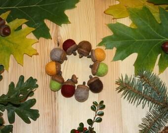 Cristmas decorations Felted wool acorns Acorn ornaments Set of 10 Christmas home decoration felted acorns