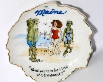 Maine Maple Leaf Dish Memorabilia / Vintage Nico Japan Humorous Trinket Plate