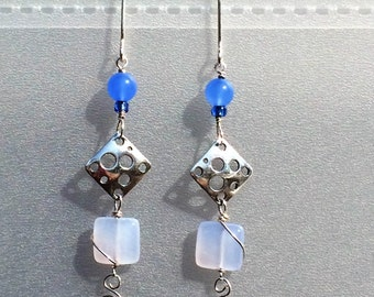 Chalcedony sterling silver dangle earrings