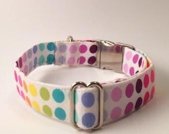 Rainbow Polka-Dotted Adjustable Dog Collar