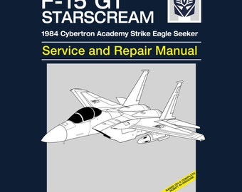 Starscream Service and Repair Manual T-shirt - Anime Manual Parody Clothing