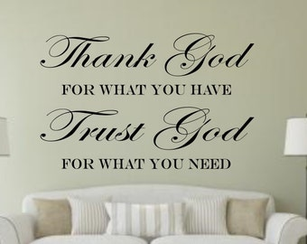 Thank God, Trust God Bible Verse Insprational Quote wall Sticker vinyl decor Decals decoration decal Scripture cheap Removable