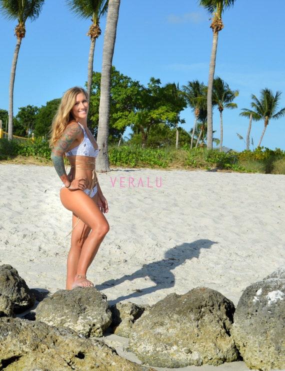 VERALU Top News Newspaper Tan reversible scrunch bikini set