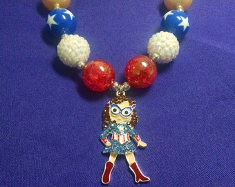 Captain America Wonder Woman Superman Justice League Super Hero Toddler Girls Bubblegum Necklace Gumball Necklace