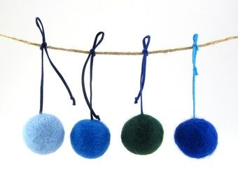 Cat toy ball with tail - made with felted wool