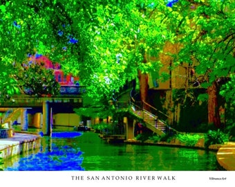 River Walk, San Antonio, Texas, Architecture, Historical, River, Stairs, Trees, Art Photography