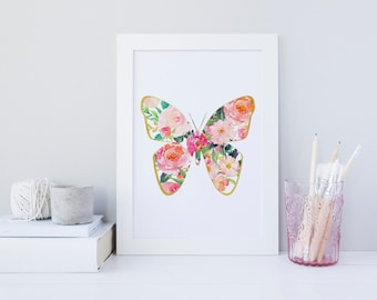 Butterfly wall art, Floral Butterfly print, nature wall art, watercolor print, floral print, butterfly print, summer print, gold decor print
