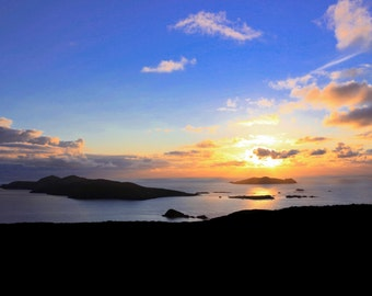 Sunset over the Blasket Islands Dingle Co Kerry Ireland,landscape