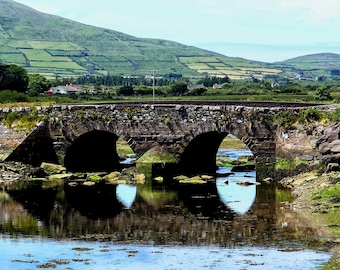 Dingle - photo of Milltown Bridge,with reflection, on the outskirts of the town