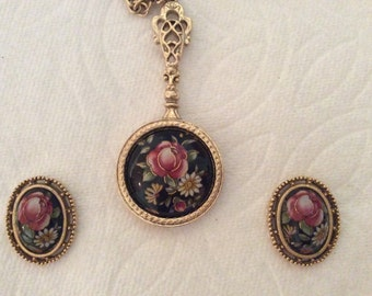 """1928 Necklace 28"""" with Matching Post Earrings Red Rose Design"""