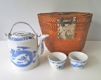 Chinese Railroad Workers Tea Pot Set - Rattan Tea Cozy - Padded Chinese Travel Tea Basket