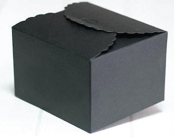 5 black scallop boxes, bridal shower favor boxes, gift boxes, wedding favor boxes, black color boxes, small black boxes