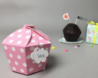 5 small hexagon polka dot petal boxes,baby shower favor,wedding favor,1 muffin box,gift box,party favor box,cute boxes,polka dot box