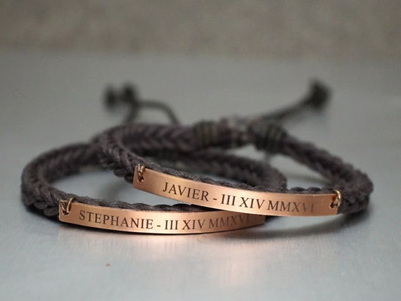 Name Anniversary Date Couple Bracelets Matching Roman Numeral