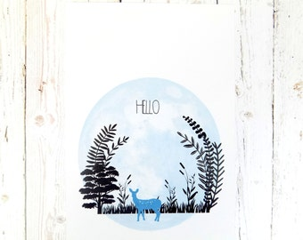 Woodland Deer Hello Quote A4 Art Print