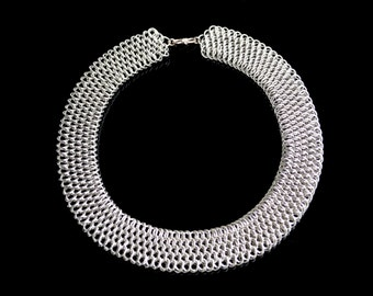 Dragonscale Collar, Rhodium Plated Chain Maille Necklace, Birthday, Graduation, Wedding, Anniversary