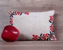 Flowers motive cross-stitch red black embroidery country style handmade decorative pillow cover ~ gifts for her ideas 8 x 12 (22 x 32 cm)