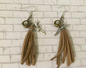 Pistol, bullet, and tassel earrings