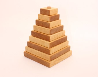 Wooden pyramid | BIG SIZE | 17cm/6,7 in | Stacking toy | Learning toy | Wood toy