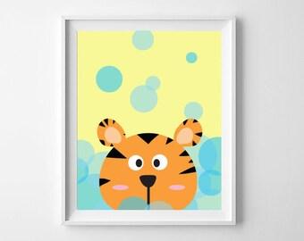 Tiger Bubble Bath Print   Bathroom Print   Bathroom Print Set   Gender Neutral Bathroom Prints   Animal Bathroom Prints   Digital Download