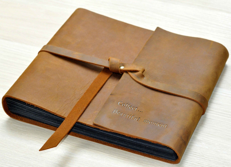photo album rustic leather photo album scrapbook style. Black Bedroom Furniture Sets. Home Design Ideas