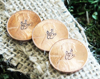 Sign Language I love you, Hand Stamped Pennies, Personalized Penny, Engraved Jewelry, Customized, Engraved Penny, Sign Language Jewelry
