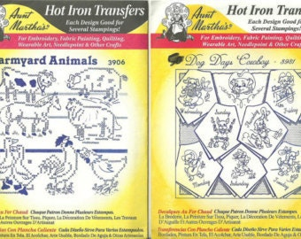 Embroidery Patterns, Farmyard Animals and Dog Days Cowboy (DOTW) Aunt Martha's Hot Iron Transfers Sealed