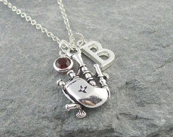 Bagpipes necklace, personalized jewelry, swarovski birthstone, initial necklace, scotland necklace, silver chain, musical instrument charm
