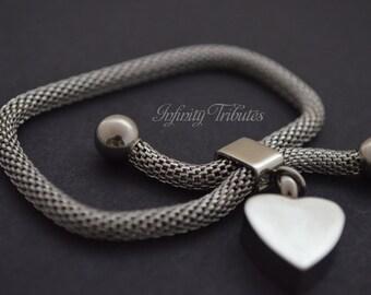 Cremation Urn Bracelet - Keepsake Bangle - Mesh Snake - Holds Ashes Fur Sand Hair etc - Available in Silver or Gold - Unique Funeral Vial UK