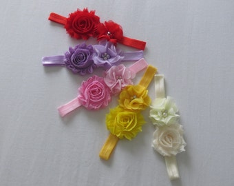 Double flowered baby headband,