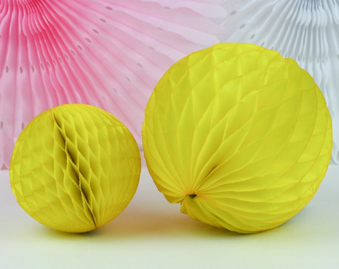 "Yellow Tissue Paper Honeycomb Ball - 5"" // Party Decoration for Birthday or Wedding, Bridal or Baby Shower // Photo Prop or Backdrop"
