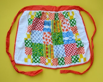 Vintage Terrycloth Apron - Multicolored Patchwork Design