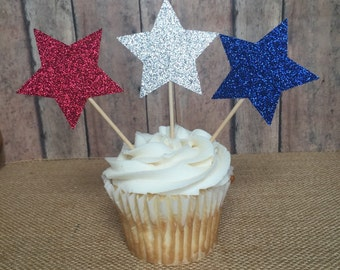 Independence Day / 4th of July Patriotic cupcake topper picks red silver & blue glitter 12ct