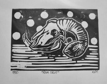 Ram Skull Linocut